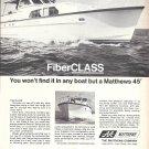 1970 Matthews Yacht Company Ad- Nice Photo of Matthews 45'