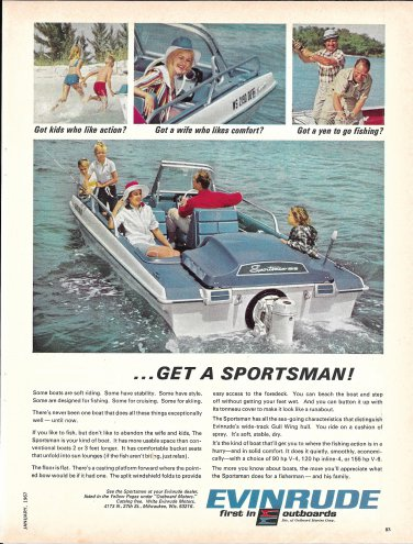 1967 Evinrude Outboards Color Ad- Nice Photo of Sportsman Boat