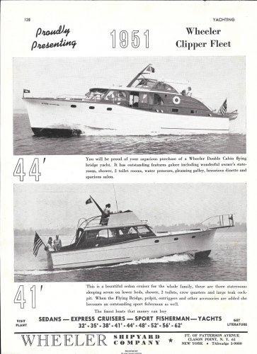 1951 Wheeler Shipyard Company Ad- Nice Photos of 44' & 41' Models
