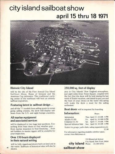 1971 City Island Sailboat Show Ad- Nice Photo