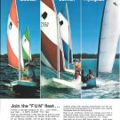 1971 AMF Alcort Sailboats Color Ad-Nice Photo Minifish-Sunfish-Flying Fish