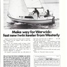 1971 Westerly Marine 22' Warwick Sailboat Ad- Nice Photo