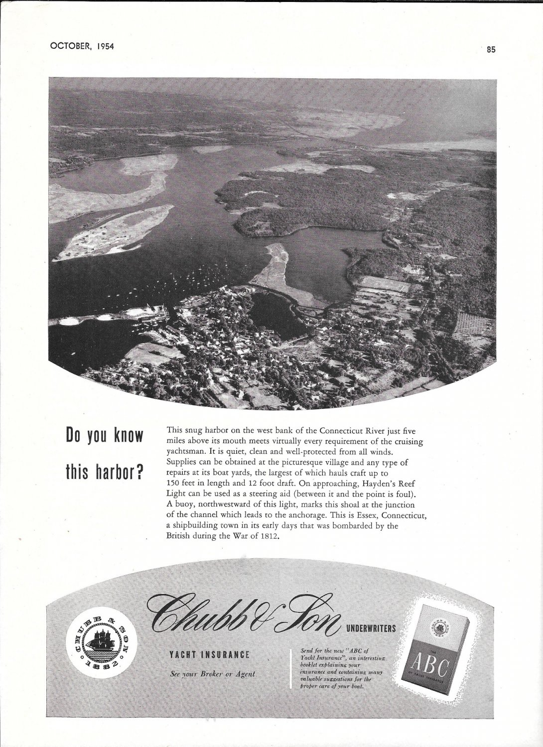 1954 Chubb Insurance Ad- Great Photo of Essex, Connecticut