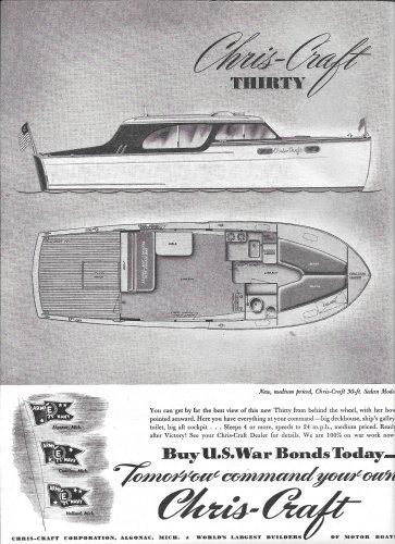 1944 Chris- Craft Thirty Sedan Cruiser Ad