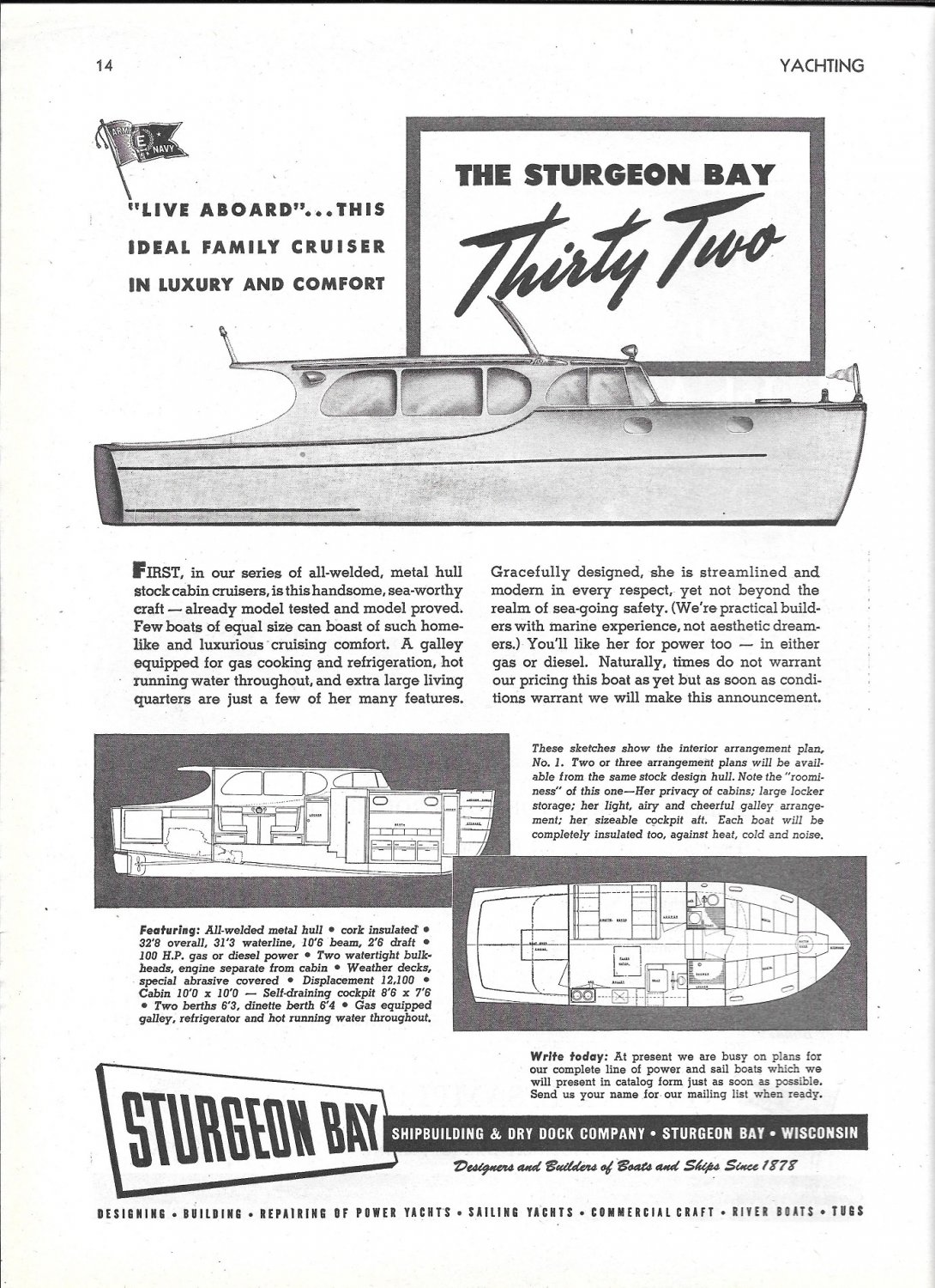 1944 Sturgeon Bay 32' Yacht Ad