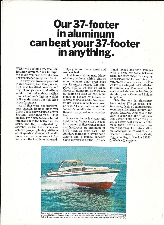 1968 Chris- Craft 37' Roamer Riviera Yacht Color Ad
