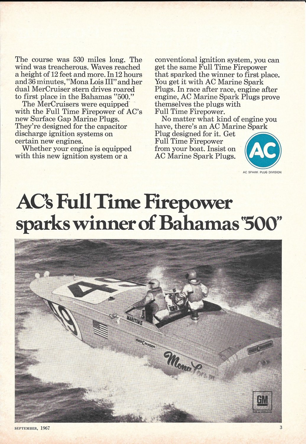 "1967 AC Spark Plugs Ad- Great Photo Racing Boat ""Mona Lois III"""