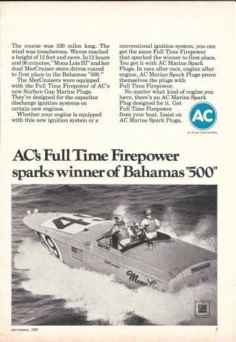 "1967 AC Spark Plugs Ad- Great Photo Racing Boat ""Mona Lois III"""