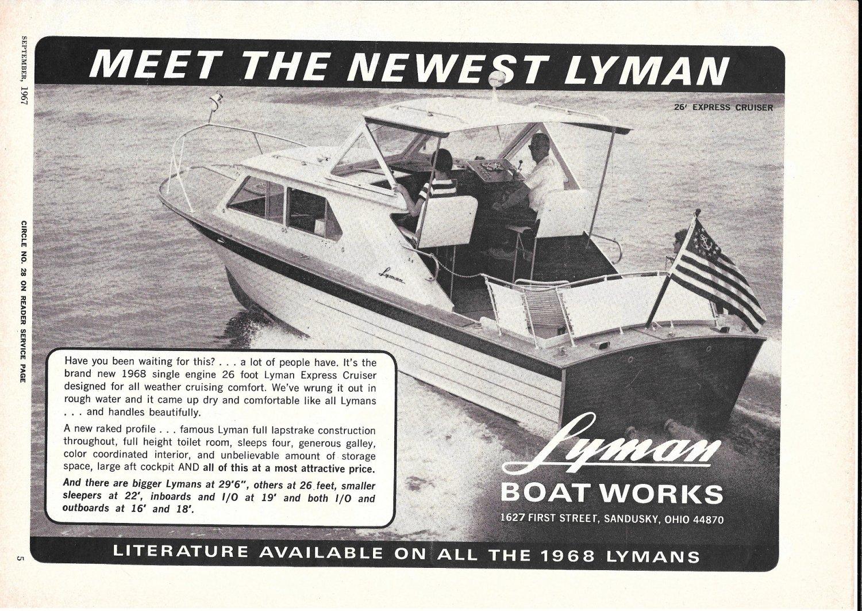 1967 Lyman Boat Works Ad- Great Photo 26' Express Cruiser
