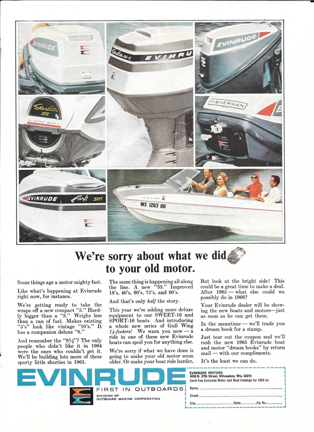 1965 Evinrude Outboard Motors Color Ad- Nice Photo