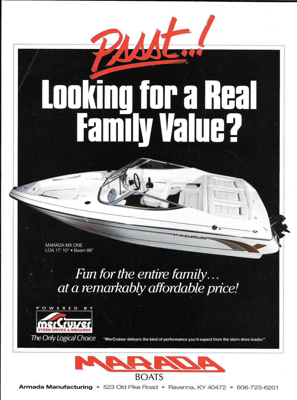 1995 Marada MX One 17' Boat Color Ad
