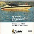 1980 Tahiti Conqueror 28' Cruiser Color Ad- Nice Photo- Hot Girl