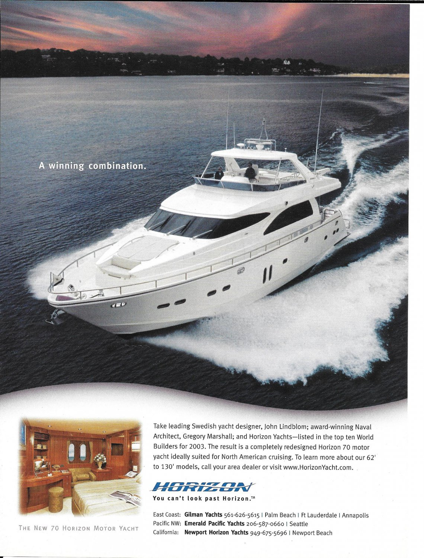 2004 Horizon 70' Motor Yacht Color Ad- Great Photo