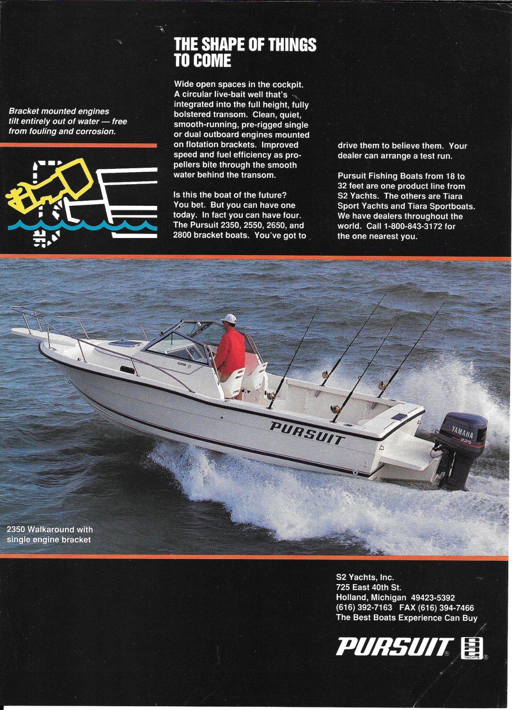 1994 Pursuit 2350 Walkaround Boat Color Ad- Nice Photo