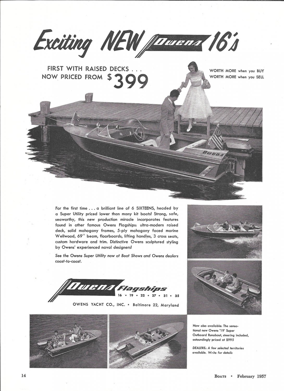 1957 Owens Yacht Company Ad- Nice Photos 5 Models- Hot Girl