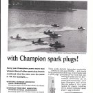 1965 Champion Spark Plugs Ad- Nice Photo Lake Spivey Hydroplane Race