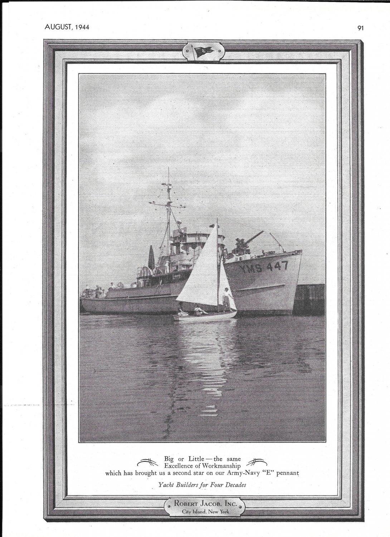1944 WW II Robert Jacob Inc Ad- Nice Photo Minesweeper YMS 447