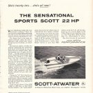 1958 Scott- Atwater 22 HP. Outboard Motor Ad- Nice Photo