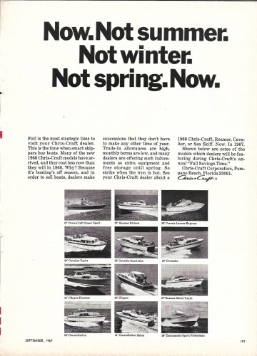 1967 Chris- Craft Yachts Ad- Photos of 12 Models