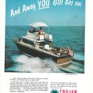 1967 Trojan Boat Company Color Ad- Nice Photo 28' Sea Skiff Bimini