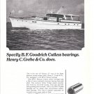 1966 B F Goodrich Cutless Bearings Ad- Nice Photo of Grebe 65' Yacht Maraju II