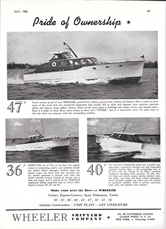 1950 Wheeler Shipyard Company Ad- Nice Photo of 47- 36- 40'