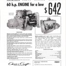 1953 Chris- Craft Marine Engines Ad- Nice Photo of Model A 60 HP.