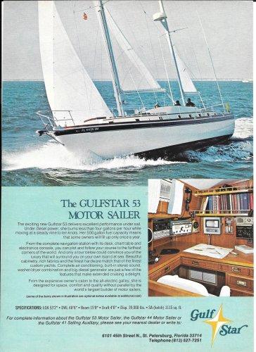1974 Gulfstar 53' Motor Sailer Color Ad- Nice Photo