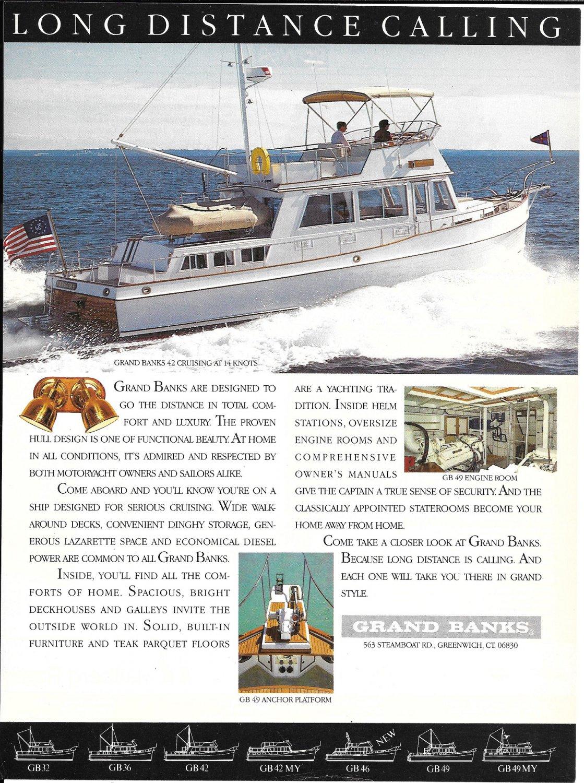1987 Grand Banks 42 Yacht Color Ad- Nice Photo