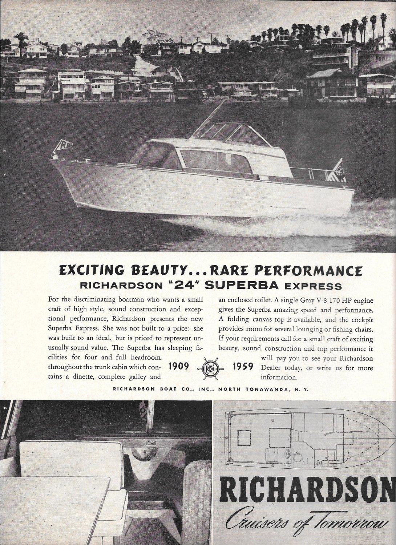 1959 Richardson Boat Co Ad- Nice Photo 24' Superba Express