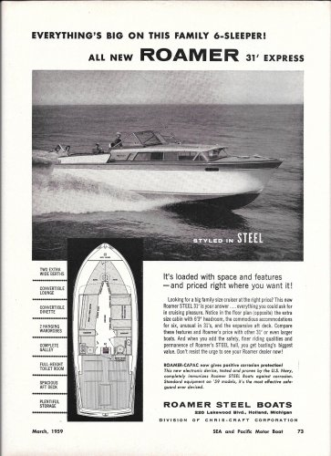 1959 Roamer Steel Boats Ad- Nice Photo 31' Express