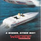 2000 Warlock Powerboats Color Ad- Great Photo