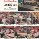 1959 Johnson Sea- Horse Outboard motors Ad- Nice color Photos Boat Show