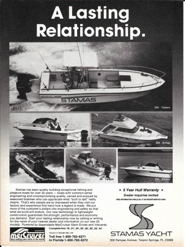 1985 Stamas Yachts Ad- Nice Photos of 6 Models
