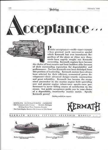 1929 Kermath Marine Engines 2 Page Ad- Photos of 6 1929 Boats