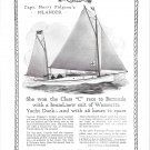 "1929 Wamsutta Yacht Duck Ad- Nice Photo Harry Pidgeon's ""Islander"""