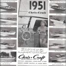 1951 Chris- Craft Boats Ad- Photos of 14 Models- Hot Girl
