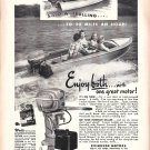 1951 Evinrude Outboard Motors Ad- Nce Photo Big Twin 25 HP.