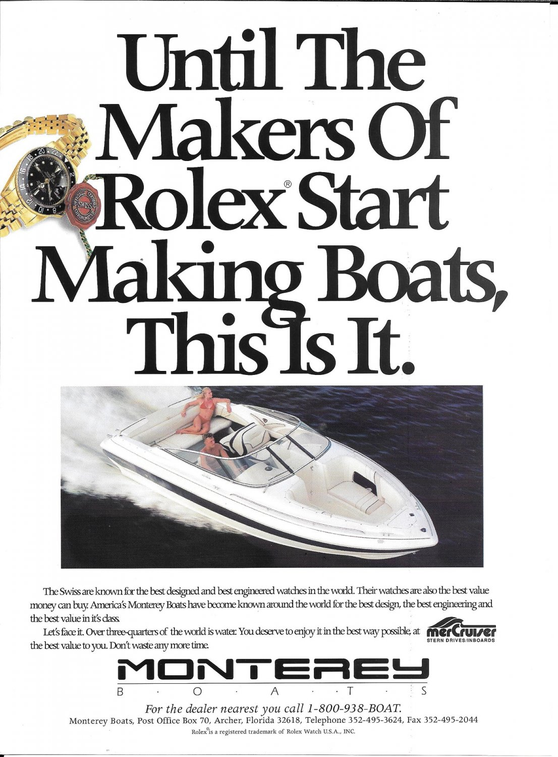 1996 Monterey Yacht Color Ad- Nice Photo- Hot Girl