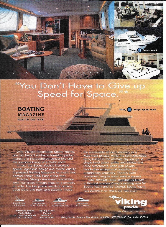 1996 Viking 60' Cockpit Sports Yacht Color Ad- Nice Photos