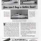 1941 Matthews Yacht Company Ad- Nice Photos of 3 Models