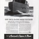1940 Anaconda Copper Ad- Nice photo Huckins Fairform Flyer Yacht Bobkat III