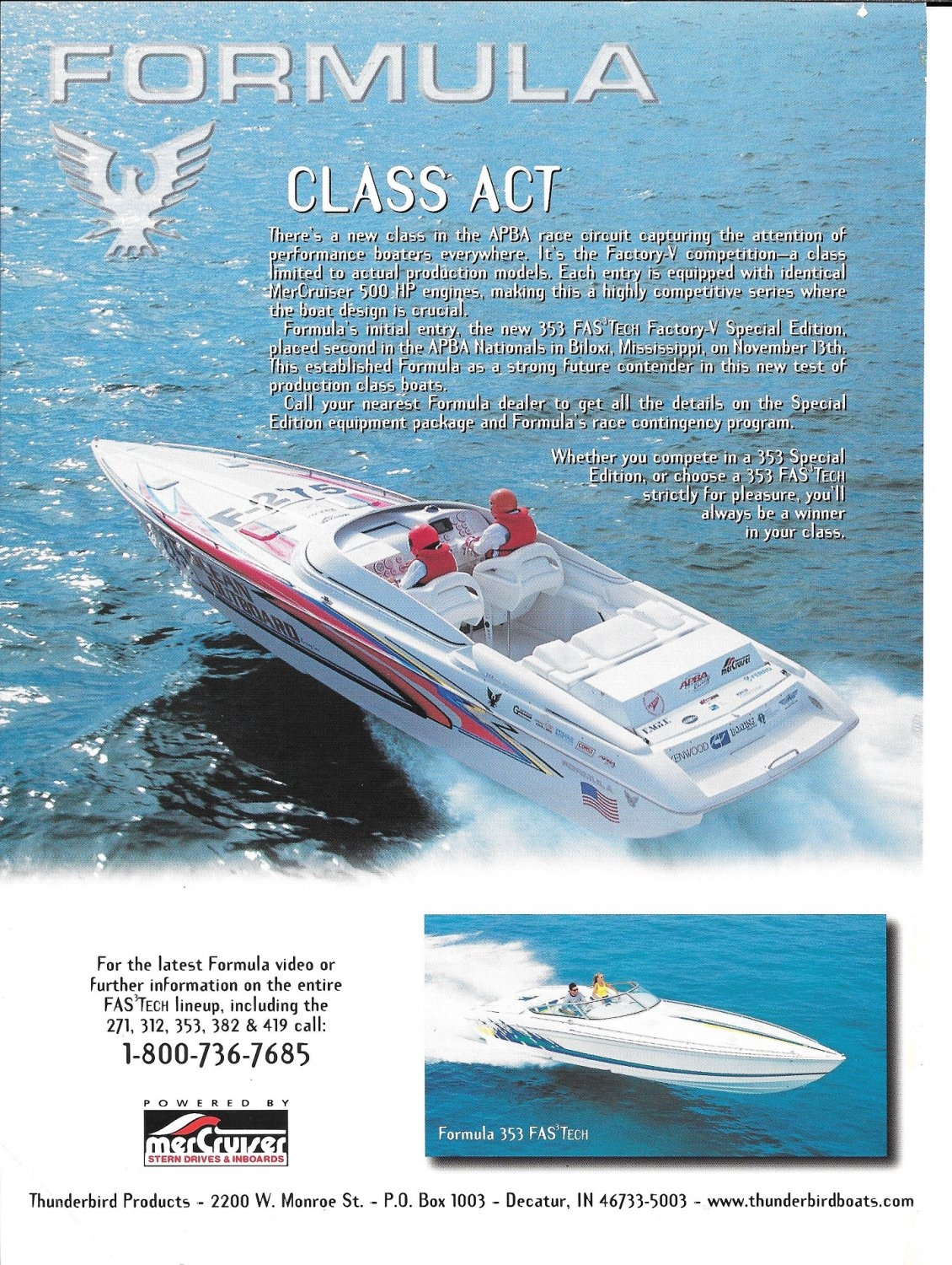 1999 Thunderbird Boats Color Ad- Nice Photo Formula 353 Fas Tech