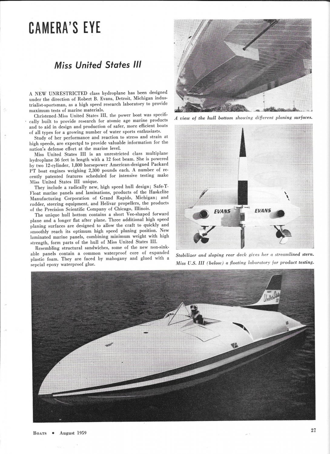 """1959 Hydroplane """"Miss United States III"""" Review- Great Photo"""