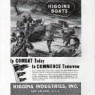 1943 WW II Higgins War Boats Ad- Nice Drawing Landing Boats