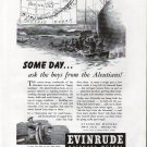 1943 WW II Evinrude Outboard Motors Ad- Nice Drawing the Aleutians Action
