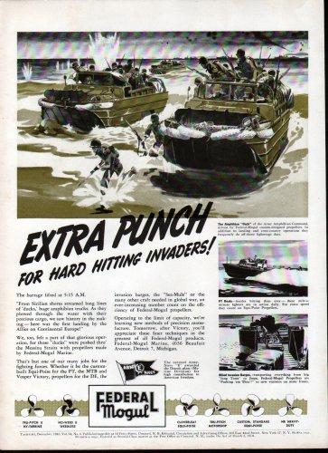 1943 WW II Federal Mogul Ad- Nice Drawing Amphibian Ducks