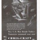1943 WW II Chris- Craft Corp Ad- Buy U.S. War Bonds Theme