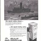 1956 Gulf Marine White Gas Ad- Nice Drawing of Tug Boat