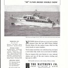 1956 Matthews Yacht Company Ad- Nice Photo 1957 Flying Bridge Double Cabin